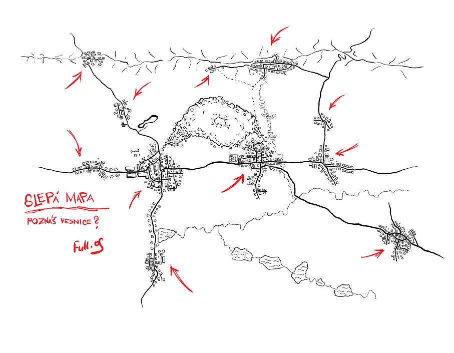 Vesnický závod - slepá mapa